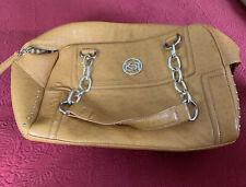 Bebe Yellow/mustard Faux Ostrich Purse Chain Handle Bag Tote, Gold Studs Zipper