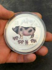 Perth Mint Australien Lunar II Jahr des Schwein 2019 Farbe 5 oz 999 Silbermünze