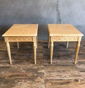 Henredon Light Olive Burl Wood Side Tables