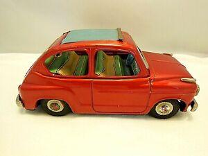 VINTAGE 1950's BANDAI JAPAN RED FIAT 600 SEDAN RAG TOP TIN FRICTION TOY NICE!