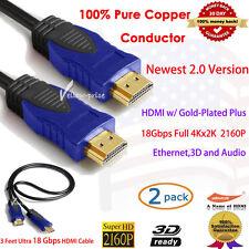 2PCS 3FT Super Speed Newest HDMI Cable V2.0 4K UHD 2160p Ethernet 3D Audio/Vedio