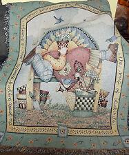 Sunny Days Angel ~ Spring Garden Flowers Tapestry Afghan Throw ~ Debbie Mumm