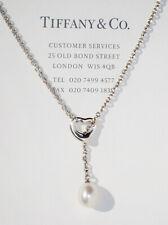 Tiffany & Co Elsa Peretti Silver Small Open Heart White Pearl Lariat Necklace