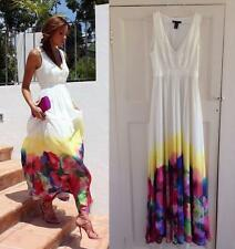 Mango Watercolor Flower Maxi Dress White Floral SMALL S UK 8  (USA -XS ) RARE