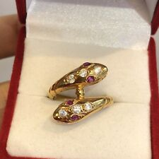 18K Solid Yellow Gold Snake Ring Cz 4.2 Grams size 5 #