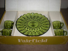 GREEN ANCHOR HOCKING FAIRFIELD - Vintage 8pc Snack set plates & cups New in box
