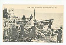 Tiberias—Sea of Galilee Fishermen Mending Nets—Antique Palestine Fishing 1910s