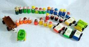 Vintage Little People Figures Cars Lot Fisher Price 26+