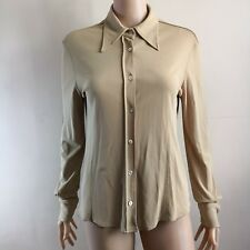 C228 - Paul & Joe Beige Long Sleeve Blouse - Made in France