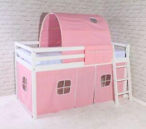 Bunk Cabin Loft Wooden Solid Pine Bed mid Sleeper Ladder Pink Girls 3ft Single