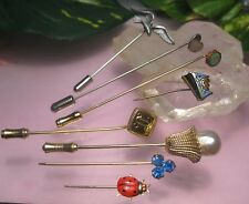 Antique Vintage Hatpin Stick Pin Lot Sterling Heart Queen Mary Rhinestone Pearl