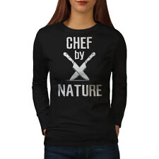 Wellcoda Chef By Nature Womens Long Sleeve T-shirt, Knife Casual Design
