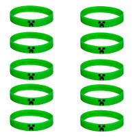 10pcs Green Minecraft Licensed Silicone Bracelets - Birthday Gifts, Party Favors