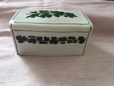 Vintage china terrine, white with green and black design, Meissen but not