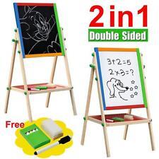 2 In 1 Kids Standing Art Easel Adjustable Wooden Chalk Drawing Board Double Side