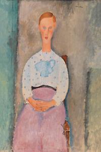 Girl with a Polka-Dot Blouse by Amedeo Modigliani 60cm x 40cm Art Paper Print