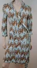 JOSEPH Pale Blue & Brown Stick Print Wrap Around Cover Up Shirt Dress FR40 UK12