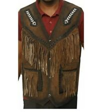 Men's Western wear cowhide suede Leather vest Fringes Arrow beads All Size