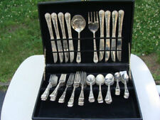 Vintage WM Rogers & Son Silverplated Flatware Set 58 Pieces in Storage Box