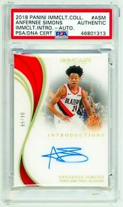 ANFERNEE SIMONS 2018 Panini Immaculate INTRODUCTIONS ROOKIE ACETATE AUTO PSA RC