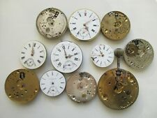 Lot of 11 vintage pocket watch movements Waltham Elgin & others