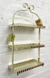 Vintage KOCH Originals Brass Metal 3 Tier Gold Regency Wall Shelf New Old Stock