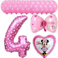 13pcs Mickey Minnie Mouse Balloons 4nd Birthday Number Party Decor Supplies Foil