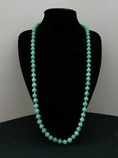 Vintage Jade Green Peking Glass Necklace With Silver Clasp
