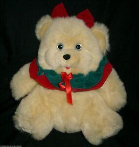 "11"" VINTAGE DAN DEE CHRISTMAS RED GREEN GIRL TEDDY BEAR STUFFED ANIMAL PLUSH TOY"