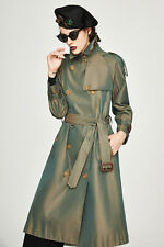 Women's Double Breasted Water Proof Cotton Long Westminster Trench Coat Outwear
