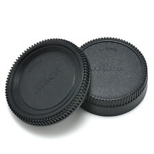 BLACK Body Front + Rear Lens Cap Cover For Nikon AF AF-S Lens DSLR SLR Camera