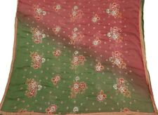 VINTAGE DUPATTA LONG INDIAN SCARF PURE CHIFFON SILK EMBROIDERED GREEN VEIL STOLE