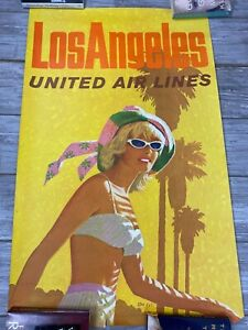 "ORIGINAL 1970 United Airlines Los Angeles Travel Poster- 25"" x 40"" yellow orange"