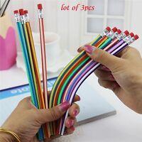 3pcs Magic Bendy Flexible Soft Pencil with Eraser Colorful Cute Student School