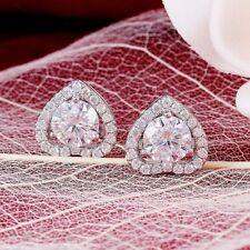 Solid 14K White Gold Finish 2.20Ct Round VVS1/D Diamond Halo Heart Stud Earrings