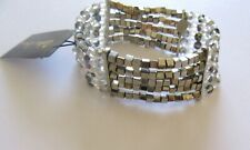 Cookie Lee Stretch bracelet- 5 thin strands- silver gray beads square round