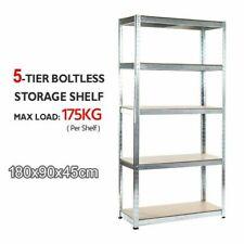 5 Tier Boltless Steel Shelving Garage Storage Racking Galvanised 180 x 90 x 45cm