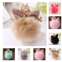 CO_ Beauty Makeup  Fur Rabbit Ear serene Pompom Ball Key Ring Chain Keychain Bag