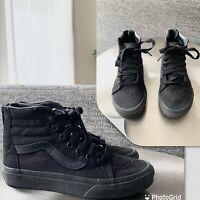 Vans Sk8-Hi Slim High Top Shoes Sneakers Black Zip Up Skate Boys Kids 13.5