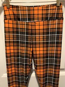 NWT Lularoe Halloween Thanksgiving Leggings Black Orange Plaid Pumpkin Spice Fal
