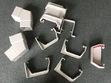 Job lot guttering parts x 9 pieces freeflow white square- clips,connectors,cap
