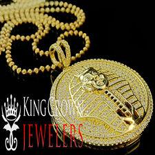 King Tut Tutankhamun Pendant 10K Gold Finish Lab Diamond Egyptian Pharaoh +Chain