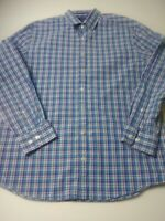 Charles Tyrwhitt Weekend Slim Fit Mens Shirt Size L Blue Plaid Long Sleeve