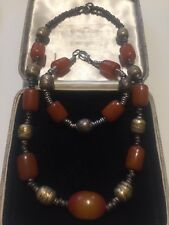 Antique Tribal Amber Bead Necklace and Bracelet