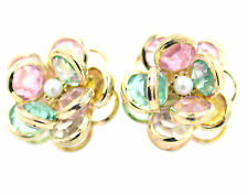 3D multicoloured crystal lotus / rose flower with gold outline stud earrings