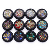 3D Nail Art Decoration Mixed Rhinestones Sequins Dried Flowers Rivets Opal Beads