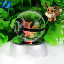 3D LED Night light Crystal Pokemon ball Eevee Elf Bedroom colors desk lamp gift