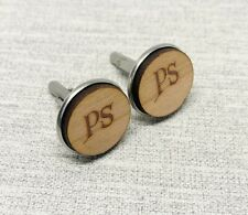 Personalised Cufflinks Wooden Initials Circle Cufflinks Engraved (7 Styles)