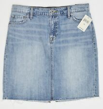 Lucky Brand Frayed Hem Denim Skirt Womens 29 Blue Distressed Cotton NEW 6054