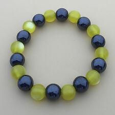 Hematite Magnetic Stones n Opal Beads Strand Elastic Charm Bracelet 20cm